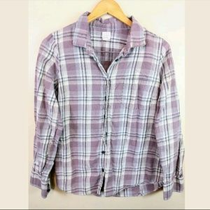 "J.Crew ""The Perfect Shirt"" Purple Plaid Flannel M"